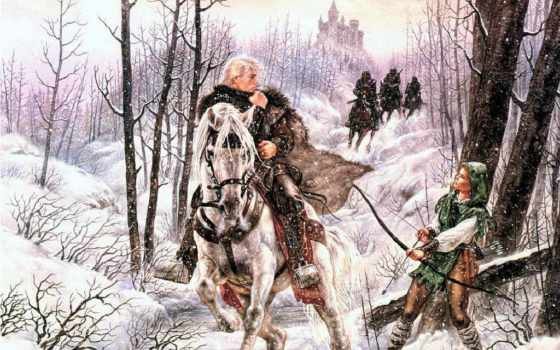 fantasy, воин, коне, белом, зимой, мужик,
