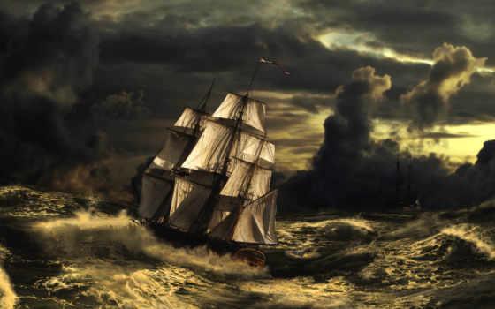 sailboat, буря, море, волны, картинка, art, небо,