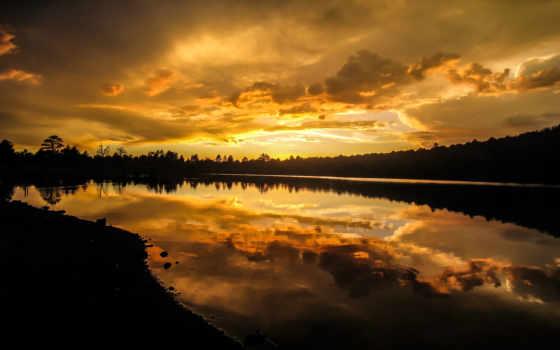 закат, озеро, природа