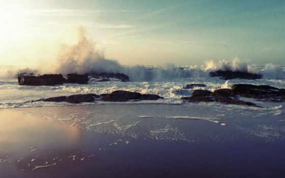 waves, пляж, beaches, crashing, природа, море, скалистый, ocean,