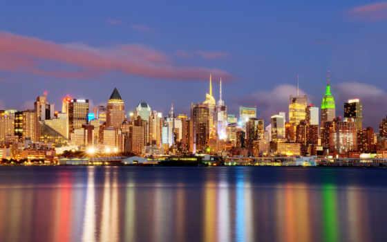 нью, york, new, город, ночь, дома, огни,
