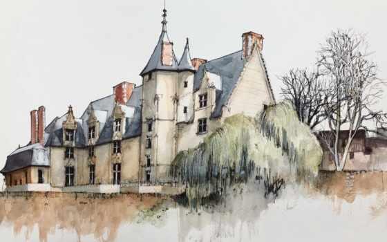 картинка, деревня, watercolor, производственный, art, franz, smurf, заказать, portrait