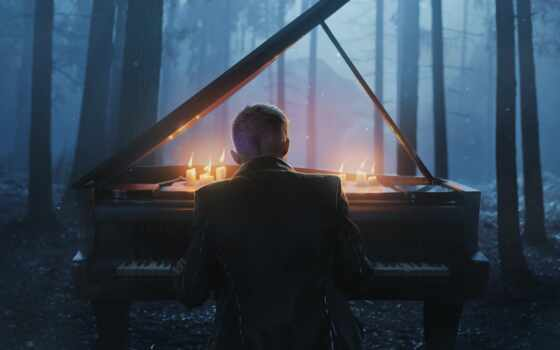 музыка, лес, туман, красивый, категория, art, хип