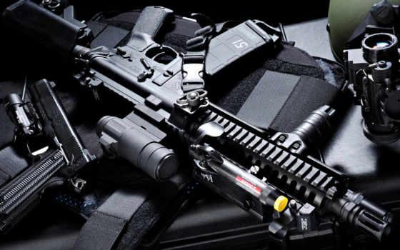 оружие, автомат, штурмовая винтовка, оптический прицел, пистолет, тактический фонарь, ПНВ, экипировка
