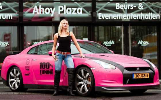 nissan, blonde, cars, gtr, girls, розовых, девушка, джинсы, эротика,