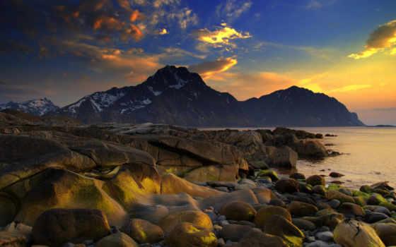 горы, природа, море