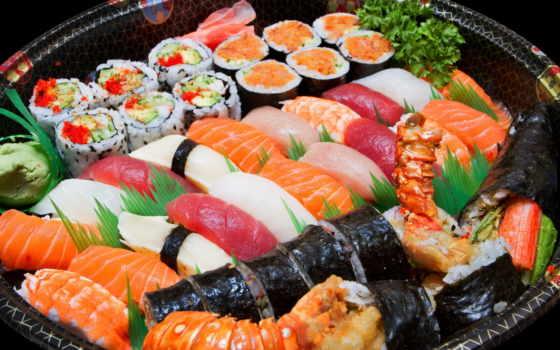 sushi, роллы, морепродукты