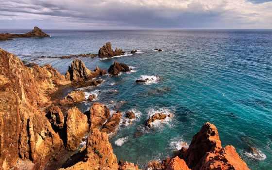 море, горы, landscape