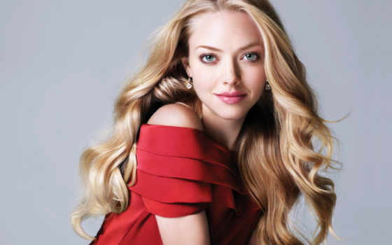 blonde, платье, красном