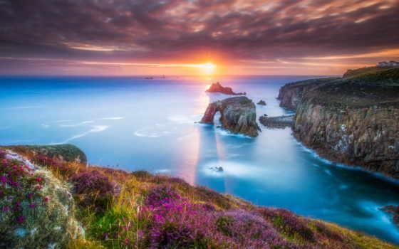 cornwall, lands, конец, англия, природа, coastline, закат,
