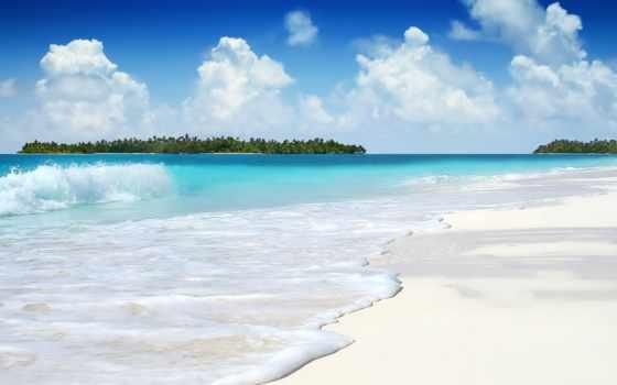 море, широкоформатные, ocean, берег, пляж, песок, небо, waves, azure, oblaka,
