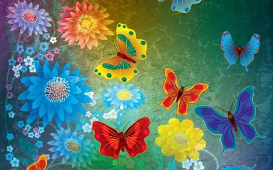 grunge, abstract, butterflies