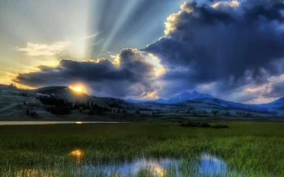 рассвет, природа, rays, картинках, обворожительная,