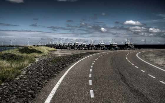 дорога, разметка, поворот, дороги, oblaka, мост, асфальт, банка,