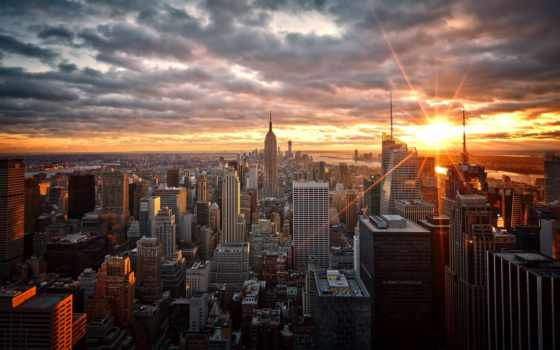 нью, new, york, картины, город, города, модульные, закат, мегаполис,