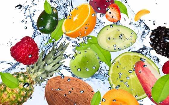 фрукты, water, свежесть, брызги, капли, apple, browse, pineapple, авокадо, кокосовый,