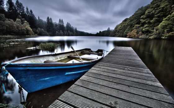 hdr, лодка, писр, река, лес,