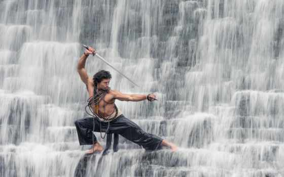 martial, товар, воин, arts, мужчины, природа, водопады, мечом, картинку, меча,