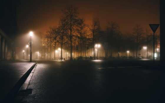 ночь, картинка, огни,