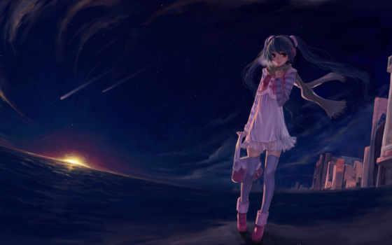 аниме,  девушка, вечер, прогулка