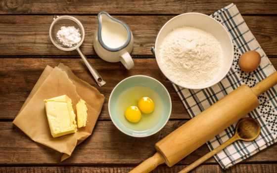 яйца, нефть, мука, сахар, milk, масла, торт, сахара, сливочное, скалка, ситечко,