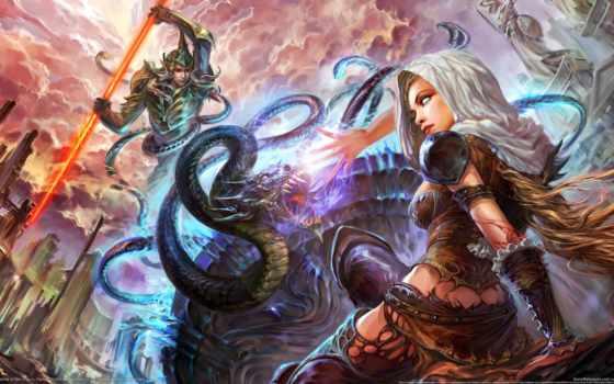 fantasy, девушка, битва, world, воин, forsaken, art, spear, огонь, devushki, заставки,
