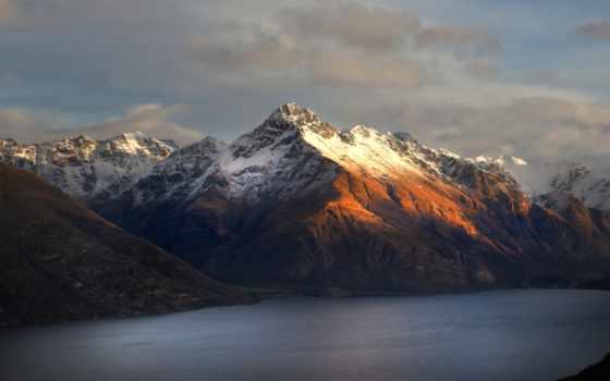quadro, decorativo, paisagem, montanhas, осень, por, закат, olist, montanha,