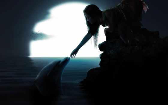дельфин, девушка, water