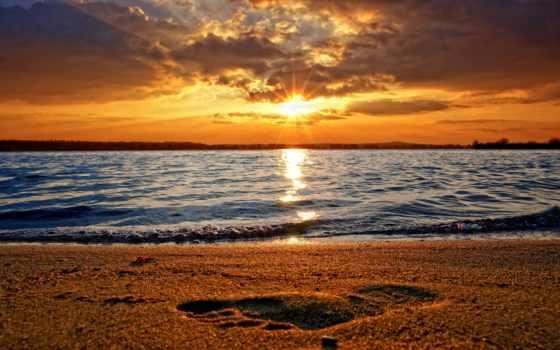 закат, море, солнца