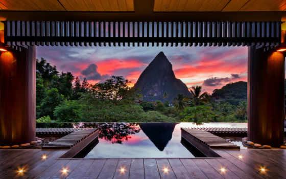 tropics, карибы, summer, вечер, гора, краски, небо,