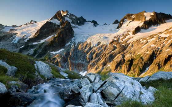 горы, трава, весна, холод, лед, природа, горах,