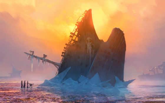 море, корабль, лед, alexiuss,