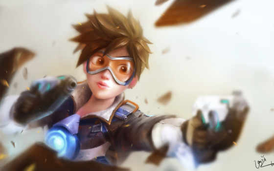 tracer, overwatch, games, desktop, art, available,