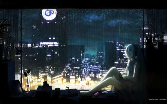 девушка, anime, ночь