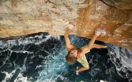 cliff, море, climber