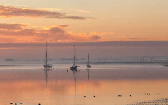 море, восход, landscape