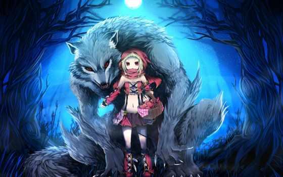 art, волк, катание