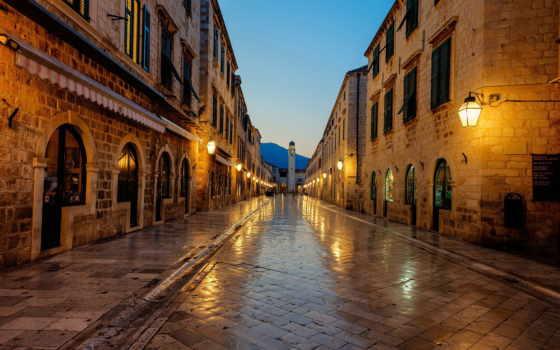 хорватия, восход, дубровник, dubrovnik, stradun, страница, город, феодосия, красивые,