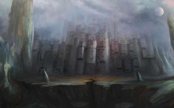 castle, луна, fantasy, art, ночь, фоны, rock, категории, воин,