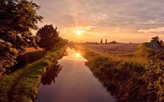 река, summer, sun, небо, отражение, берега, природа, trees, лес,