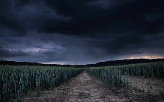 поле, ночью, небо, тучи, ночь, природа,
