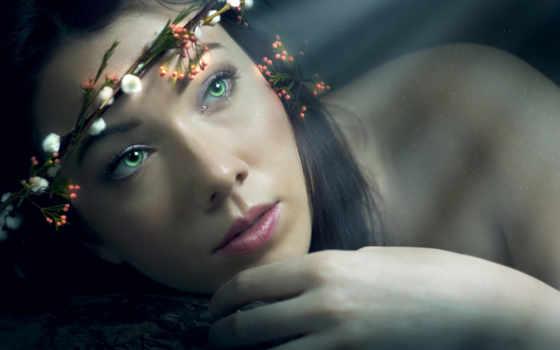 девушка, portrait, венок, свет, зеленые, лицо, волосы,