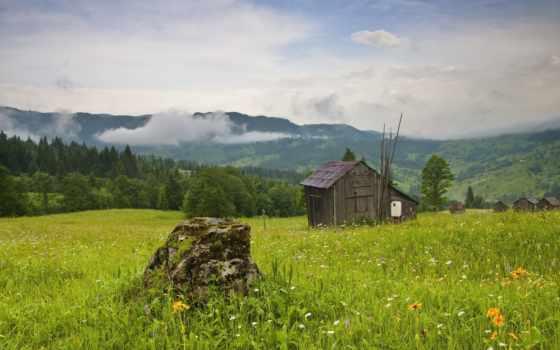 lodge, holly, house, природа, huts, горы, livery, пейзажи -, небо,