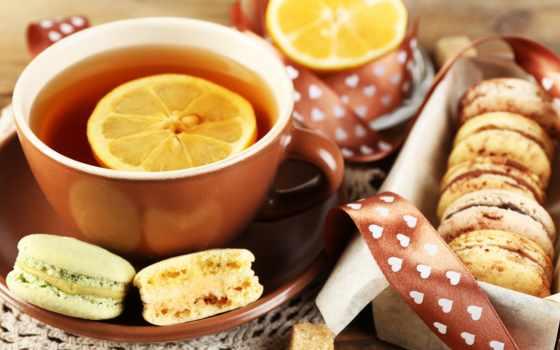 чая, cookie, cup, lemon, десерт, макарун, миндальный, macaron,