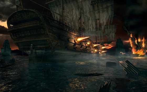 fantasy, битва, sailboat, обоя, огонь, фэнтези, потрясающие,