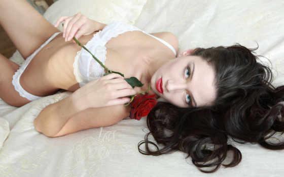 , роза, белое бель, эротика, брюнетка