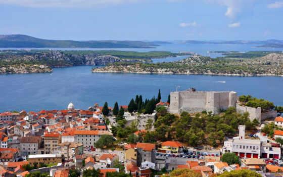 ан, shibenik, город, ну, побережье, место, море, equip, хорватия, bay, остров
