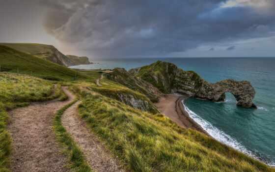 побережье, гора, seascape, февраль, jurassic, even, дверь, durdle, tapety, закат, сентябрь
