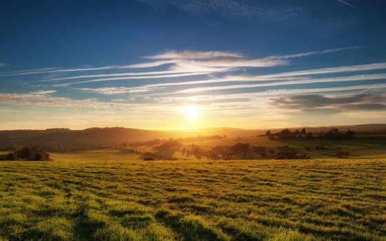 поле, закат