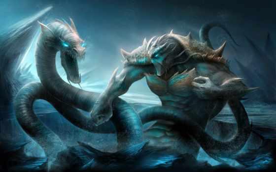 змей, fantasy, море, monster,